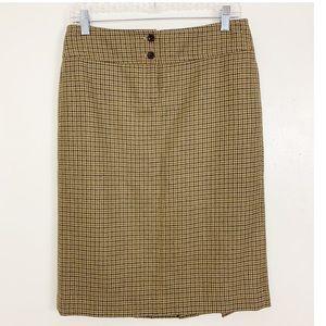 J. Crew Wool Pleated Midi Skirt Houndstooth